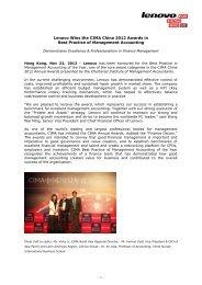 Lenovo Wins the CIMA China 2012 Awards in - Strategic Public ...