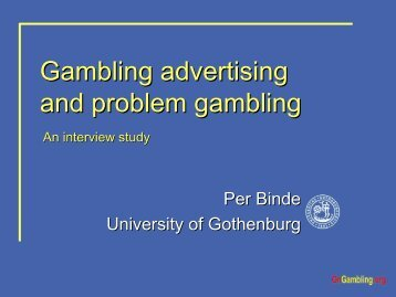 Gambling advertising and problem gambling: An interview Study