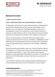 Medieninformation - Hensel und Mennekes bündeln ihre