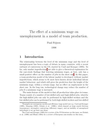 The effect of a minimum wage on unemployment in a model of team ...