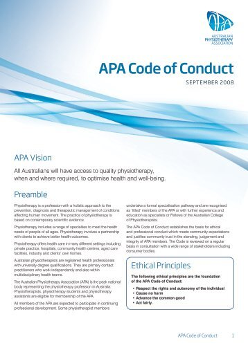 APA Code of Conduct - Australian Physiotherapy Association