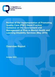 Overview Report - Regulation and Quality Improvement Authority