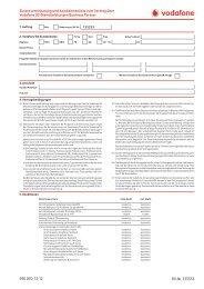 Zusatzvereinbarung un Konditionenliste zum Vertrag über Vodafone ...