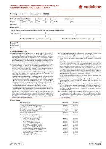 Zusatzvereinbarung Zu Bestehenden Vertrag über Vodafone D2