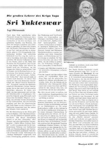 Artikel in Wendezeit 4/00 - Teil 6 - Kriya Yoga