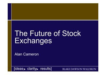 The Future of Stock Exchanges - The Stock Exchange of Thailand