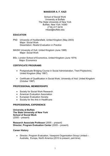 curriculum vitae - UB School of Social Work - University at Buffalo