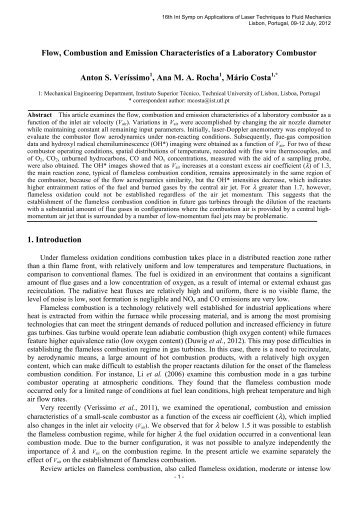 Flow, Combustion and Emission Characteristics of a Laboratory ...