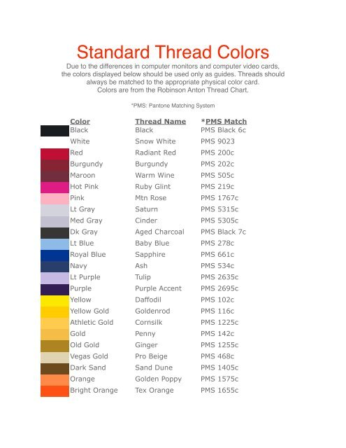 Standard Thread Colors Distributorcentral