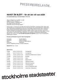 HAVET ÄR BLÅTT – för att det vill vara blått - Stockholms Stadsteater