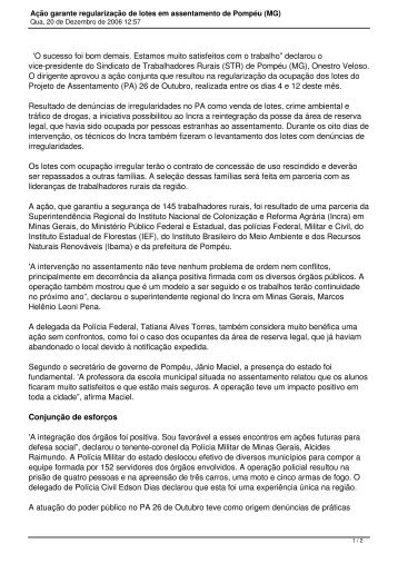 INCRA_Acao_ ... - Mapa dos conflitos ambientais de Minas Gerais