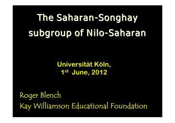 The Saharan-Songhay subgroup of Nilo-Saharan - Roger Blench