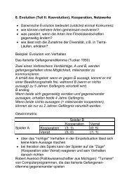 8. Evolution (Teil II: Koevolution); Kooperation, Netzwerke ...
