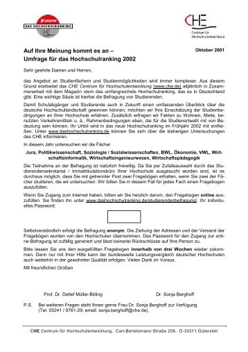 Fragebogen Studierendenbefragung - Centrum für ...