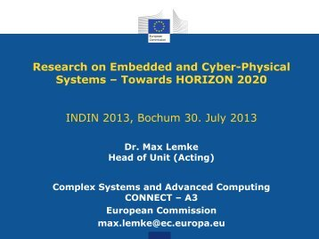 Research on Embedded and Cyber-Physical Systems ... - indin 2013