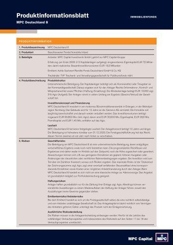 Produktinformationsblatt - Triebe Wirtschaftsberatung