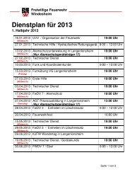 Dienstplan 2013 - Freiwillige Feuerwehr Windesheim