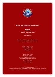 Katalog für Kategorie: Gutscheine - und Getränke-Welt Weiser