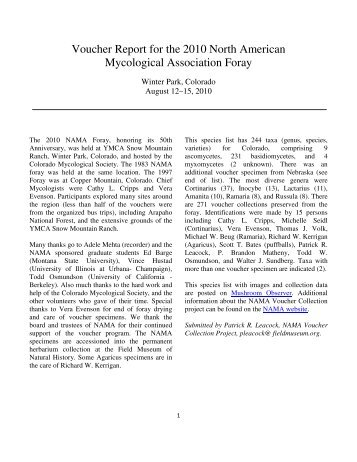Voucher Report for the 2010 North American Mycological ...