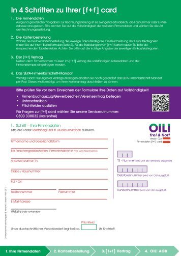 Bestellung von [ f+f ] cards - OIL!