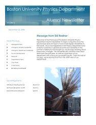 Boston University Physics Department Alumni Newsletter