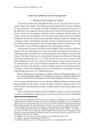 1. Philolaus and the Pythagorean Tradition - Librarius