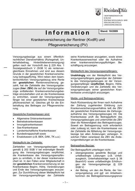 (KvdR) und Pflegeversicherung