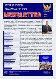 July Newsletter - Mt Roskill Grammar School