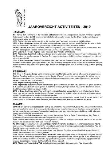 Activiteitenverslag 2010 (PDF) - Speleoclub Avalon