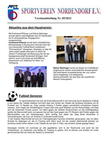 Vereinsmitteilung Nr. 05/2012 Fußball Senioren ... - SV Nordendorf