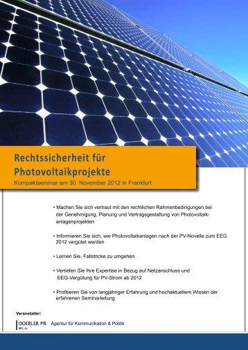 Rechtssicherheit für Photovoltaikprojekte - Doebler PR