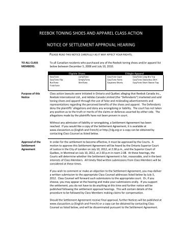 reebok toning shoes and apparel class action ... - Classaction.ca