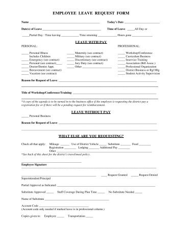 EMPLOYEE LEAVE REQUEST FORM   Klickitat School District #402  Employee Leave Application Form