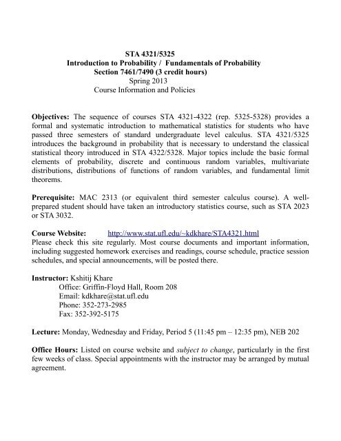 STA 4321/5325 Introduction to Probability / Fundamentals of