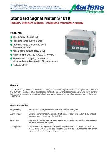 S1010-V1_31-01- Prospekt - Martens Elektronik GmbH