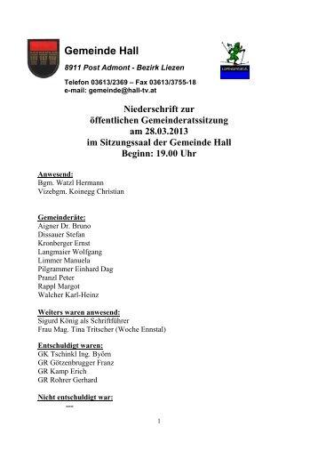 Gemeinderatssitzungsprotokoll vom 28.03.2013 - Gemeinde Hall