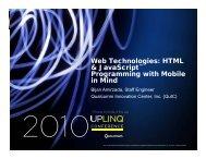Web Technologies: HTML & JavaScript™ & JavaScript ... - Uplinq