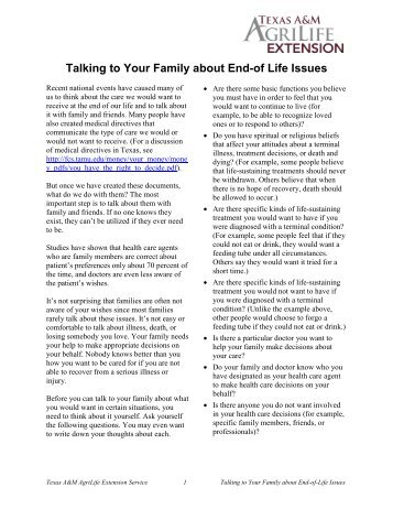 Talking to Your Family about End-of Life Issues - Texas A&M ...