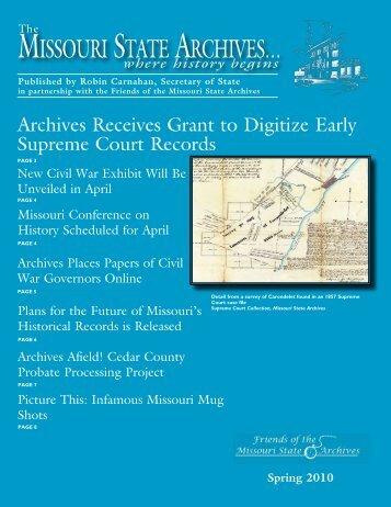 Spring 2010 Archives Newsletter - Secretary of State