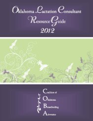 Oklahoma Lactation Consultant Resource Guide - Updated July 2013