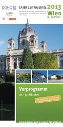 Vorprogramm - Jahrestagung 2013