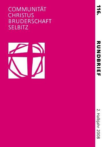 R UND B RIEF 11 6 . - Communität Christusbruderschaft Selbitz