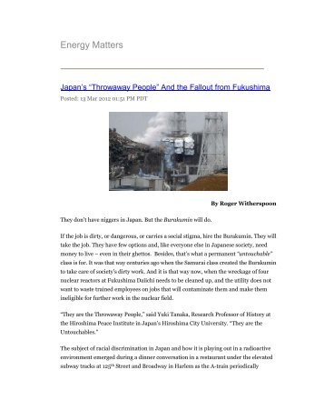"""""""Throwaway People"""" And the Fallout from Fukushima Energy ..."""