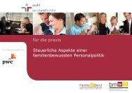 Steuerliche Aspekte einer familienbewussten Personalpolitik