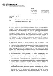 Prise de position du HCR sur le message concernant la ... - UNHCR