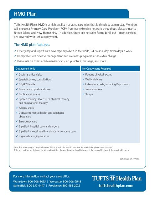 Hmo Plan Tufts Health Plan