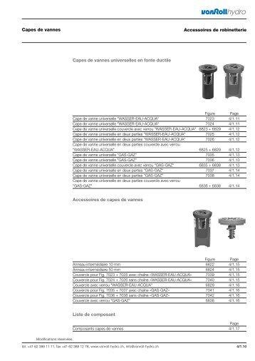 Accessoires de capes de vannes Liste de ... - vonRoll hydro