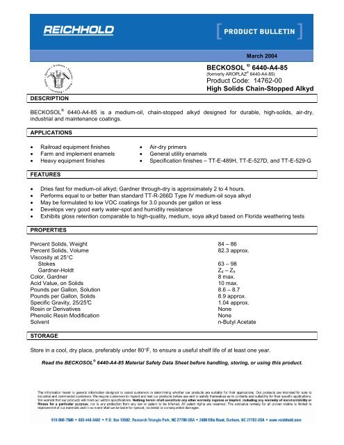 Beckosol 6440 A4 85 Product Bulletin Reichhold