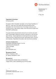 Papierfabrik Scheufelen Company profile Founded in 1855 ...