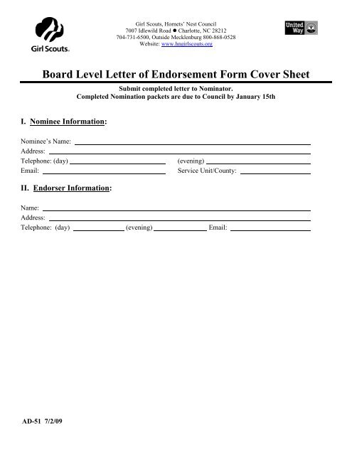 What Are Candidate Endort Letters | Board Level Letter Of Endorsement Form Cover Sheet